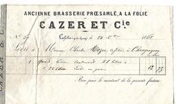 Petite Facture 1868 / 70 LAFOLIE Vers Gray / Ancienne Brasserie PROESAMLE, A LA FOLIE / CAZERET Cie - France