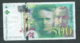 500 Francs Pierre Et Marie Curie 1994 - N° K016495431-  2 SCANS  LAURA 4603 - 1992-2000 Laatste Reeks