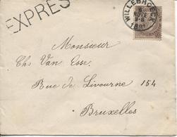 CL19/ TP 49 S/L.Exprès + Griffe EXPRES C.Willebroeck 6 NOVE 3-S 1891 > BXL C.d'arrivée Téleg.Porte De Namur - 1869-1883 Leopold II