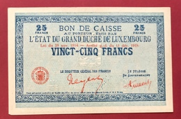 Luxembourg 25 Francs 1914-1918 TTB - UNC - Lussemburgo