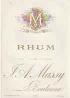 ***  étiquette ***  - RHUM Certainement Avant 1900 - Maison  Massy Bordeaux - Dorée TTB - Etiquettes