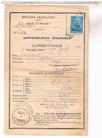Fiscaux TIMBRE DOUANE Sur Document Laisser Passer Auto Belge Un Jour 12 09 1928 - Fiscaux
