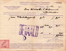 12 MEI 1921  Betaalde Rekening Met Kwitantiezegel  Van 1 Gld Van De Disconto En Effectenbank  Rotterdam - Lettres & Documents