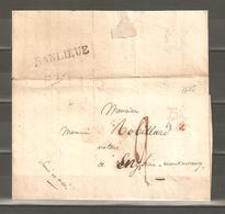 Lot  1097 //  LETTRE A/C DU  3 AOUT 1825 --LETTRE P EN ROUGE--GRIFFE BANLIEUE - Non Classés