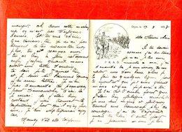 21 DIJON 1933 1er RAD Régiment Artillerie Divisionnaire Lettre En-tête Illustation Cavalier Canon - Documents