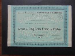 FRANCE - LYON 1929 - ANC. ETS. GEOFFRAY BUISSON : COFFRES FORT G.B. - ACTION B DE 500 FRS - Azioni & Titoli