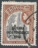 Guyana. 1966 Independence O/P. 12c Used. Mult Script CA W/M SG 383 - Guyana (1966-...)