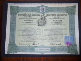BULGARIE - SOFIA 1917 - BANQUE DE SOFIA - ACTION DE 100 LEVA OR - BELLE VIGNETTE - Azioni & Titoli