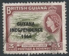 Guyana. 1966 Independence O/P. 3c Used. Upright Block CA W/M SG 386 - Guyana (1966-...)