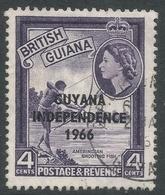 Guyana. 1966 Independence O/P. 4c Used. Upright Block CA W/M SG 387 - Guyana (1966-...)