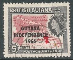 Guyana. 1966 Independence O/P. 5c Used. Upright Block CA W/M SG 388 - Guyana (1966-...)