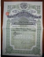 EGYPTE - ALEXANDRIE 1927 - THE ALEXANDRIA AND RAMLEH RAILWAY CIE - TITRE DE 5 £ - BELLE VIGNETTE - Shareholdings