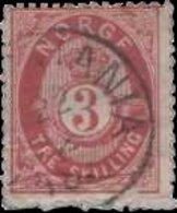 Norvège 1871. ~  YT  18 - 3 S. Cor Ombré (2° Choix) - Norvège