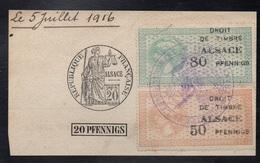 FRANCE - ALSACE - THANN / 1916 FISCAUX # 175 & 176 SUR FRAGMENT DE PAPIER TIMBRE / COTE > 100 EUROS (ref 7685) - Fiscaux