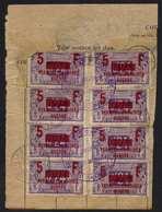 """VILLERS LE LAC - DOUBS / 1919 TIMBRES """"PERMISSIONNAIRES DE GUERRE""""  SUR DOCUMENT / COTE 340.00 € COMPLET (ref 4598) - Fiscaux"""