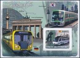 [39671]TB//ND/Imperf-c:21e-Comores 2008 - BL124, Métro. - Trains