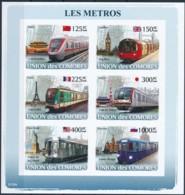 NN - [39688]TB//ND/Imperf-NN - Comores 2008 - BL1255/1260, Métro. - Trains