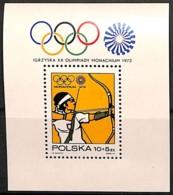 D - [813313]TB//**/Mnh-Pologne 1972 - Jeux Olympiques De Munich, Le Bloc, Sports, Tir À L'Arc - Bogenschiessen