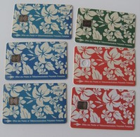 Lot-6-telecartes-Tahiti-Polynesie-francaise-Motif-pareo-Millecamps-1993-vintage - Telefonkarten