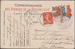 France 1915. Carte Drapeaux De Franchise Militaire. 10 C Semeuse, Envoi Pour La Suisse. Peu Commun - Briefe