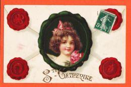 Nw553 Carte Gaufrée SAINTE-CATHERINE Cachets Porte-Bonheur à SEGONDE MASET Grand Coron N°46 Isbergue-Série 1344 K.F Ste - Sainte-Catherine