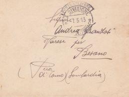 1913 POSTA MILITARE/I DIVISIONE/TRIPOLITANIA C2 Con Cartiglio (7.5) Su Busta Non Affrancata Non Tassata - Libia