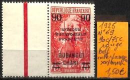 D - [838210]TB//**/Mnh-Oubangui 1925 - N° 69, 90c/75c Rouge, Bdf, Interpanneau - Oubangui (1915-1936)
