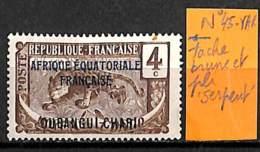 D - [838220]TB//**/Mnh-Oubangui  - N° 45-VAR, Tache Brune Et Pli 'serpent', Félins, Animaux - Oubangui (1915-1936)