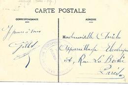 64- Cachet Hôpital-Station Sanitaire De Trespoey-Docteur Monestier Sur CP En 1916 - Marcofilie (Brieven)