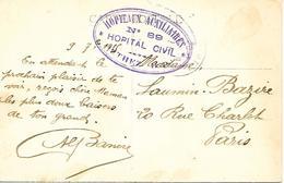 64- Cachet Hôpital Civil N+89 De Orthez Sur CP De L'Hospice En 1915 - Guerre De 1914-18