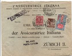 Perforata AI Assicuratrice Italiana 1916 - Milano Posta Estera - Perfint Perforé Perforated - Espresso Express - 1900-44 Vittorio Emanuele III