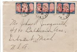 Mediterranée à Lyon C 1930 - Lettre Pour Detroit USA - Ambulant Poste Ferroviaire - Marcophilie (Lettres)