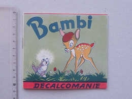 DECALCOMANIES Anciennes Walt DISNEY: BAMBI Livret Avec 3 Volets Intérieurs - Faon Cerf Chasseur Forêt - JESCO Imagerie - Old Paper