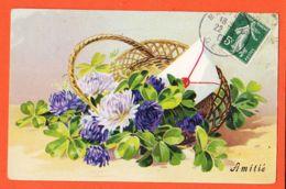 Nw568 Carte Relief Gaufrée AMITIE Corbeille Osier Fleur 1908 De Marguerite MOULET à Adelaïde PAULONIE Palique Castres - Autres