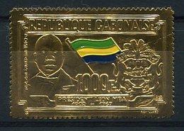 RC 14892 GABON TIMBRE EN OR - GOLD STAMP PRESIDENT LEON MBA NEUF ** MNH TB - Gabun (1960-...)