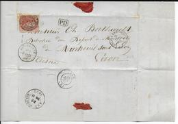 BELGIQUE - 1862 - SEUL Sur LETTRE De BRUGELETTE OBLITERATION à BARRE N° 166 RARE ! => LAON AMBULANT BELG. A ERQUELINES - Postmark Collection