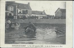 Chatillon Sur Colmont-La Fête(26 Septembre 1909)-Le Jeu Du Tonneau Sur La Mare.Ecrite Par Gourdelier. - Other Municipalities