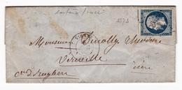 Lettre 1855 Vienne Viriville Isère Napoléon III 20 Centimes Avec Correspondance - 1853-1860 Napoléon III