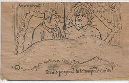 Carte Postale En Bois, LES CONCIERGES, Mais Poupoule Tu Te Trompe De Cordon !, Scan Recto Verso - Altri