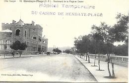 64- Cachet Hôpital Temp. Du Casino De Hendaye-Plage (N°85 Bis) Sur CP Du Casino En 1915 - Marcofilie (Brieven)