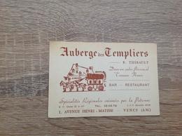 Ancienne   Carte De Visite De Restaurant  Auberge Des Templiers   Vence  Alpes Maritime - Visiting Cards