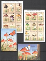 T1036 ST. VINCENT MUSHROOMS OF THE WORLD FLORA NATURE BUTTERFLIES !!! 2KB+2BL MNH - Mushrooms