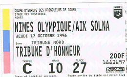 3O NIMES Stade Des Costières Billet D'entrée Nimes/AIK Solna 17/10/1996 Coupe D'Europe Vainqueurs De Coupe (224) - Tickets D'entrée