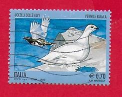 ITALIA REPUBBLICA USATO - 2013 - Uccelli Delle Alpi - Pernice Bianca - € 0,70 - S. 3453 - 6. 1946-.. Republic