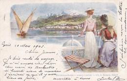EVIAN LES BAINS - HAUTE-SAVOIE  -  (74)  -  LITHOGRAPHIE PRÉCURSEUR 1903. - Evian-les-Bains