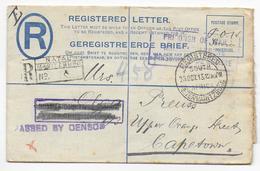 SOUTH AFRICA - 1917 - PRISONNIER De GUERRE !! - ENV. ENTIER RECOMMANDEE CENSUREE De PETERMARITZBURG (NATAL) => CAPETOWN - Briefe U. Dokumente