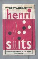 Suikerzakje.- RESTAURANT HENRI SMITS Beethovenstraat 55 AMSTERDAM. Sugar Bag. Embalage De Sucre. Zucchero. Zucker - Suiker