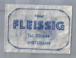 Suikerzakje.- HOTEL FLEISSIG AMSTERDAM. Sugar Bag. Embalage De Sucre. Zucchero. Zucker - Suiker