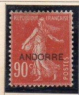 XP2926 - ANDORRA FRANCESE 1931,  Unificato N. 12 * Linguella Pesante (2380A) . - Andorre Français