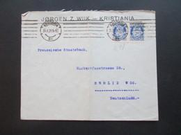 Norwegen 1921 Beleg Jörgen Z. Wilk - Kristiana Nach Berlin An Die Preussische Staatsbank - Norwegen